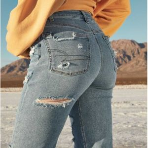Stretch Ripped Mom Jeans